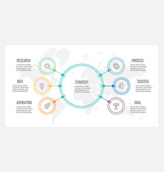 outline infographic organization chart with 6 vector image