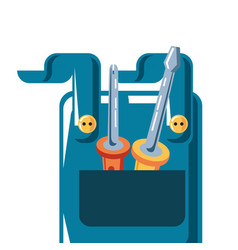 Overall uniform with screwdrivers tools vector