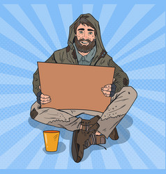 Pop art homeless man male beggar with cardboard vector
