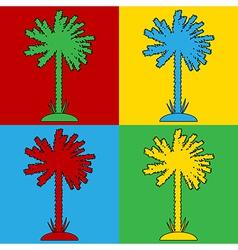 Pop art palm icons vector