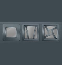 Porthole in spaceship metal square windows vector
