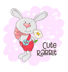 postcard cute rabbit with flowers cartoon style vector image