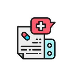 prescription medication instruction flat color vector image