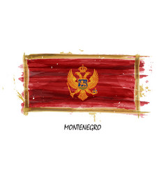 Realistic watercolor painting flag of montenegro vector
