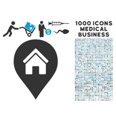 Realty map marker icon with 1000 medical business vector