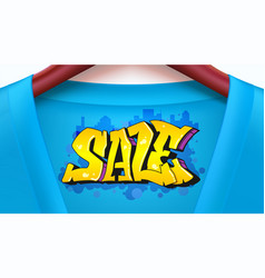 Sale ad banner with blue shirt jacket with tag vector