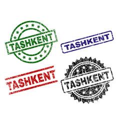 Scratched textured tashkent stamp seals vector