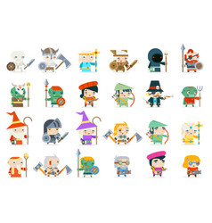 set fantasy rpg game heroes villains minions vector image