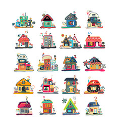 set houses sketch for your design vector image