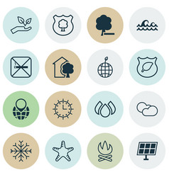 Set of 16 eco icons includes house sun power vector