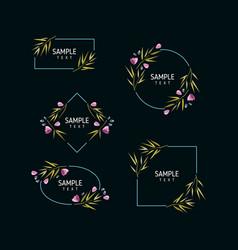 Set of floral frames wedding ornament concept vector