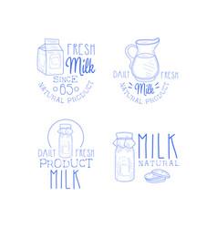 set of monochrome emblems for milk production vector image