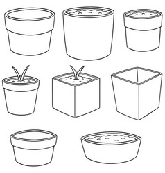 set of planting pot vector image