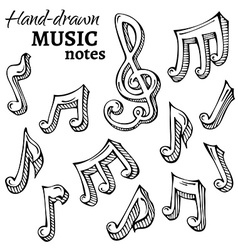 set of sketch music icons vector image