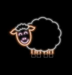 Sheep neon sign bright glowing symbol on a black vector