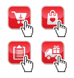 Shopping buttons set with cursor hand icon vector image