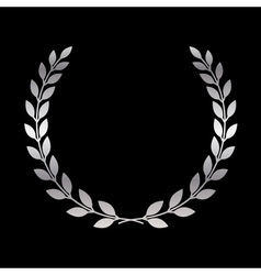 Silver laurel wreath icon 1 vector