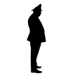 Soviet army officer in uniform silhouette vector
