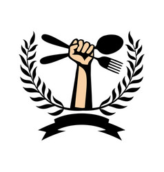 Spoon with fork in hand and laurel wreath vector