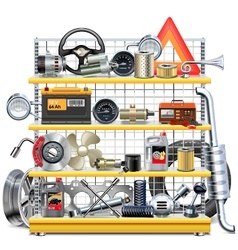 Supermarket Shelves with Car Spares vector