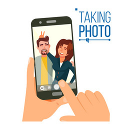 taking photo on smartphone smiling friends vector image