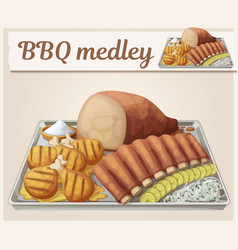 Texas bbq medley icon cartoon vector
