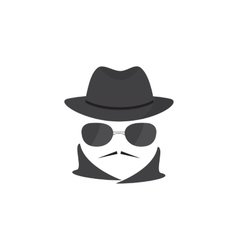 Unknown man with a mustache in hat and glasses vector image