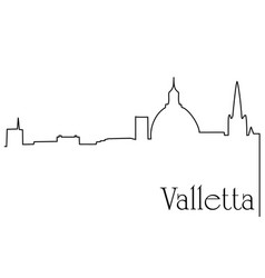 valletta city one line drawing background vector image