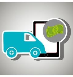 Van shipping online store vector