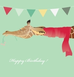 Vintage Birthday greeting card with jiraffe vector