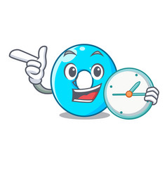With clock the number zero on a cartoon vector