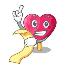with menu heart shaped ice cream the cartoon vector image