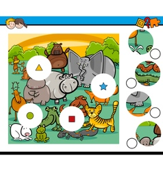 animals match pieces game vector image