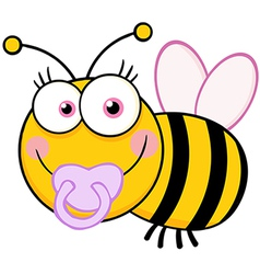 Baby Girl Bee Cartoon Mascot Character vector image