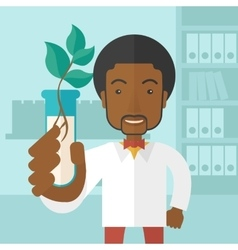 Black guy Chemist with tube and eco leaves vector image vector image