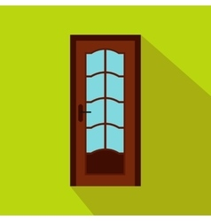 Brown wooden door with glass icon flat style vector image