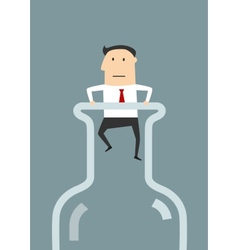 Businessman in the neck of glass bottle vector image