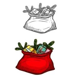 Christmas Santa gifts sack bag isolated sketch vector image vector image