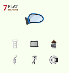 flat component set of heater auto component vector image vector image