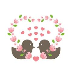 Love Birds Wearing A Heart Wreath vector image vector image
