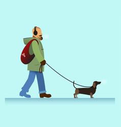man with dog walking vector image vector image