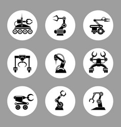 monochrome technology factory robot icons design vector image