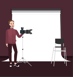 photographer man standing holding camera with vector image