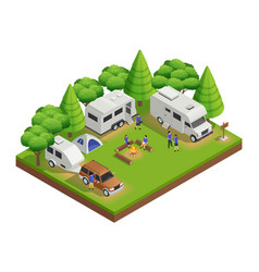 recreational vehicles isometric composition vector image vector image