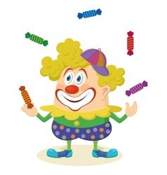 Circus clown juggling candies vector image vector image