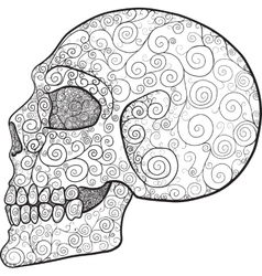 decorated skull profile vector image vector image