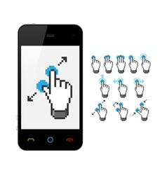 Phone with touch screen gestures vector image vector image