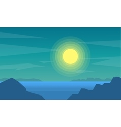 Silhouette of beach at night scenery vector