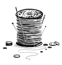 Spool of Thread with Needles and Buttons vector image