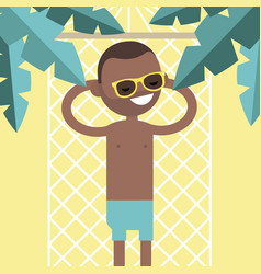 Young black character lying in a hammock under vector
